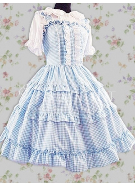 REDUCED FOR QUICK SALE: PLUS SIZE Blue & White Gingham JSK & Bunny Earred  Blouse Set