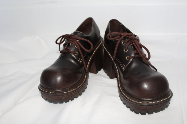 Brown Oxford Platform Shoes by l.e.i.