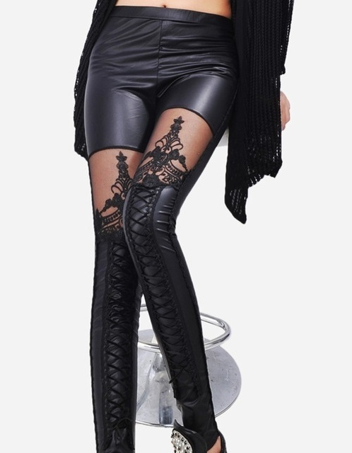 Hollow lace synthetic leather leggings embroidery
