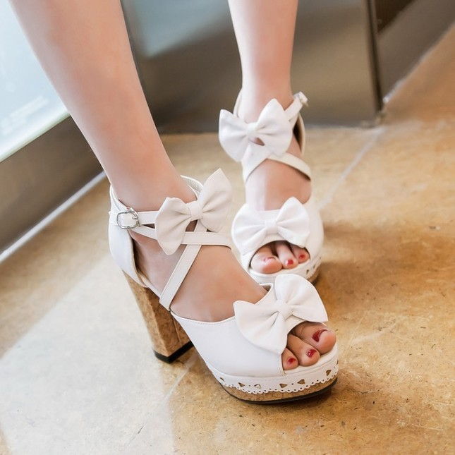 Lolita fashion new women s sandals bow decoration thick heel open toe comfortable and breathable pu