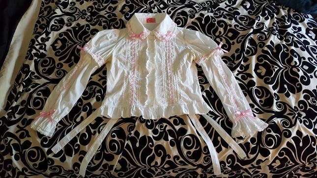 Angelic Pretty White Blouse With Detachable Sleeves And Waist Ties