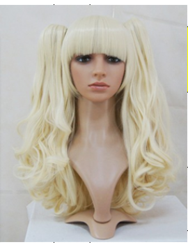 Sweet long wavy off white blonde lolita wig with two ponytails myw 160