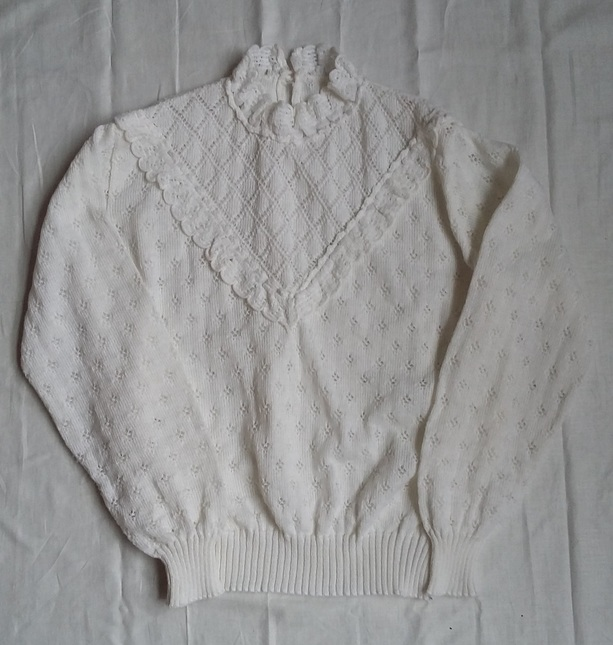 Vintage 20white 20knit 20high 20collar 20jumper 20top 20(1)