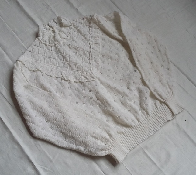 Vintage 20white 20knit 20high 20collar 20jumper 20top 20(2)