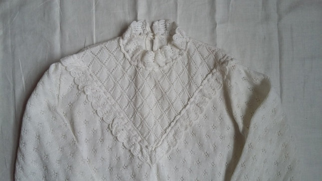 Vintage 20white 20knit 20high 20collar 20jumper 20top 20(3)