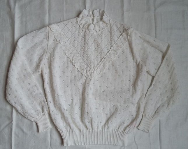 Vintage 20white 20knit 20high 20collar 20jumper 20top 20(9)