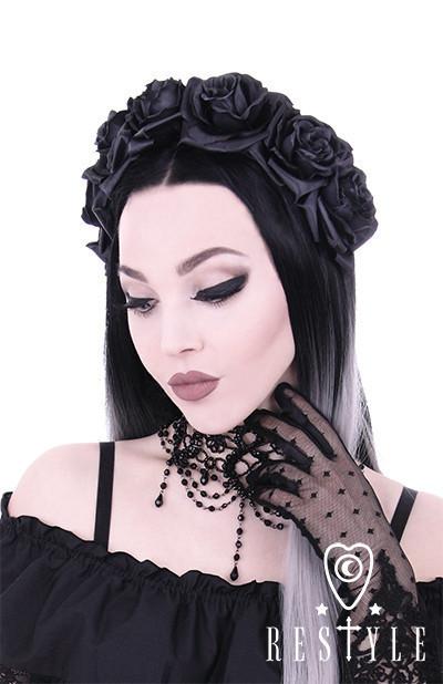 Eng pl black roses gothic headband gothic wreath garland headpiece 1216 6
