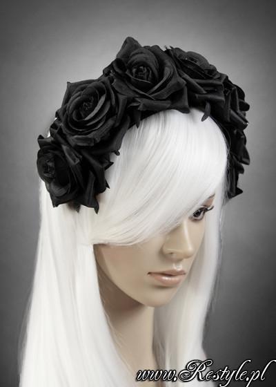 Eng pl black roses gothic headband gothic wreath garland headpiece 1216 4