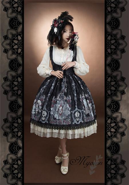 Skulls family gothic lolita long sleeves op dress 2 1 20(1)