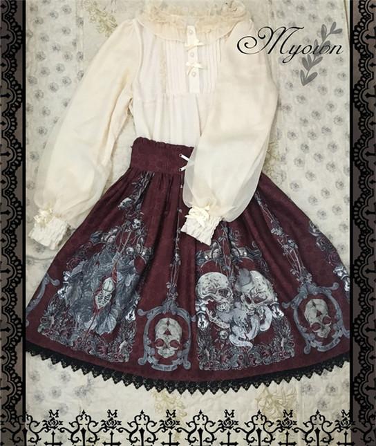 Skulls family gothic lolita skirt 4