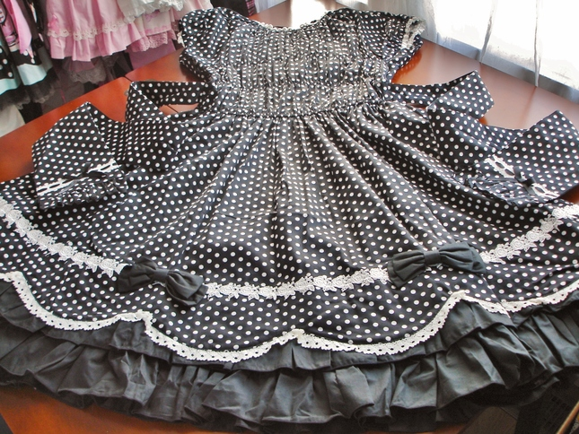 34f8a25f7325 Bodyline Black and White Scalloped Polka Dot Double Lace Up OP (L257 ...