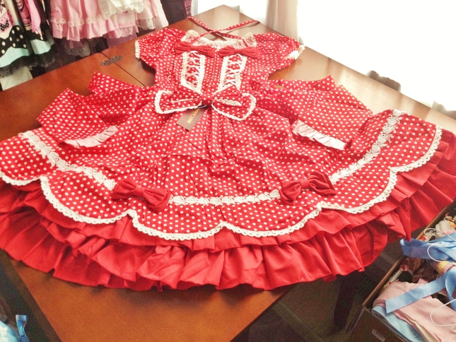 17e87cf41 Bodyline Red Scalloped Polka Dot Double Lace Up OP (L257) Size M NWT ...