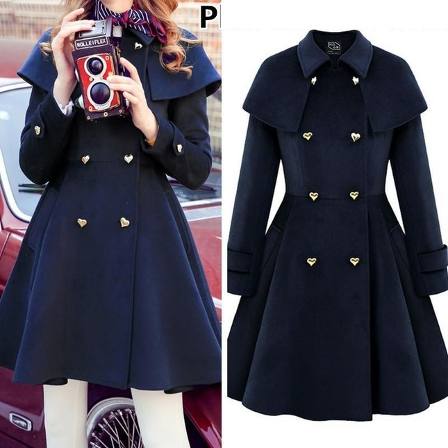 Free shipping plus size heart button double breast elegant midi woolen coat jacket sp1711501 5 1024x1024