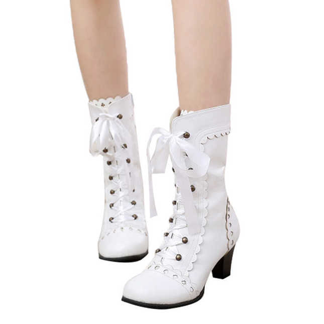 Vintage Ribbon Lace-Up Heeled Boots in