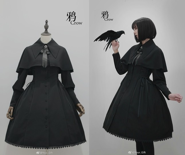 Your Gift -The Raven- Gothic Lolita Jacket /OP Dress + Cape - One Piece -  Lace Market: Lolita Fashion Sales