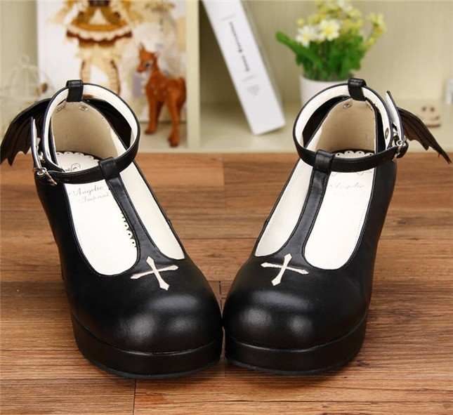 Angelic imprint gothic t shaped straps lolita heels shoes with detachable angel wings 2
