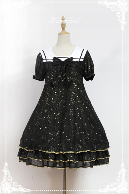 Constellation kindergarten gold staping chiffon lolita sailor collar op dress gc 299 66