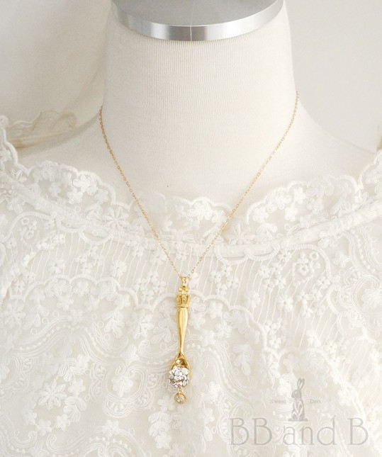 Regal gold spoon with swarovski crystals necklace 2nd gen