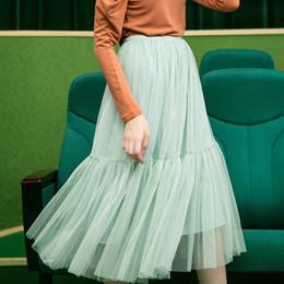 Fall winter mint green long mesh tiered skirt