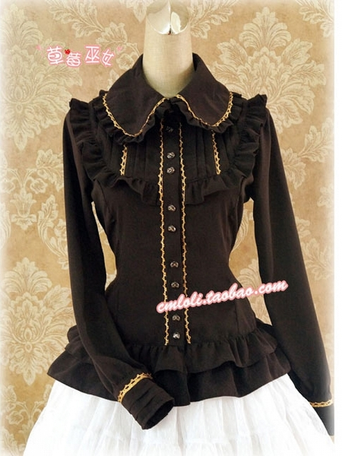 Stand collar gold lace or silver lace trimmed blouse by strawberry witch (6) 750x1000